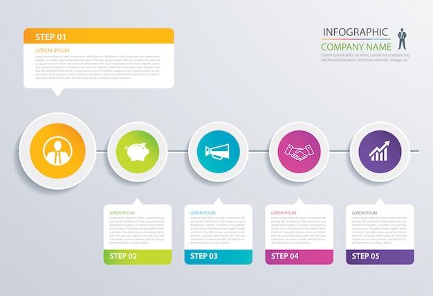 5 schritt kreis timeline infografik optionen vorlage mit papierbögen.
