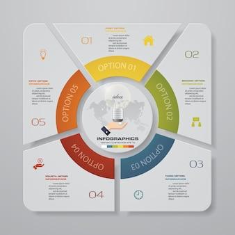 5 schritte diagramm infografiken elemente