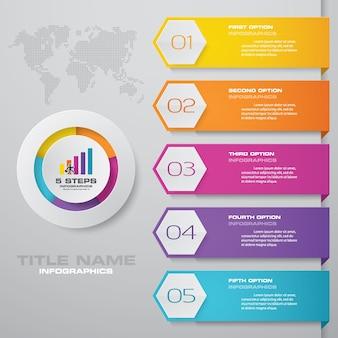 5 schritte einfach & editierbare prozessdiagramm infografiken element.