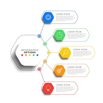 5 schritte infografik-vorlage mit realistischen sechseckigen elementen. geschäftsprozessdiagramm. firmenpräsentationsfolienvorlage.