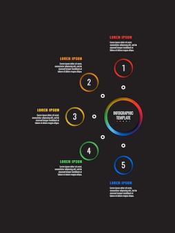 5 schritte infografik-vorlage mit runden papierschnittelementen auf schwarzem hintergrund. geschäftsprozessdiagramm. firmenpräsentationsfolienvorlage.