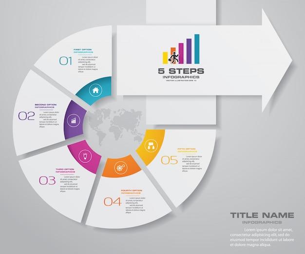 5 schritte infografiken element pfeilvorlagendiagramm.