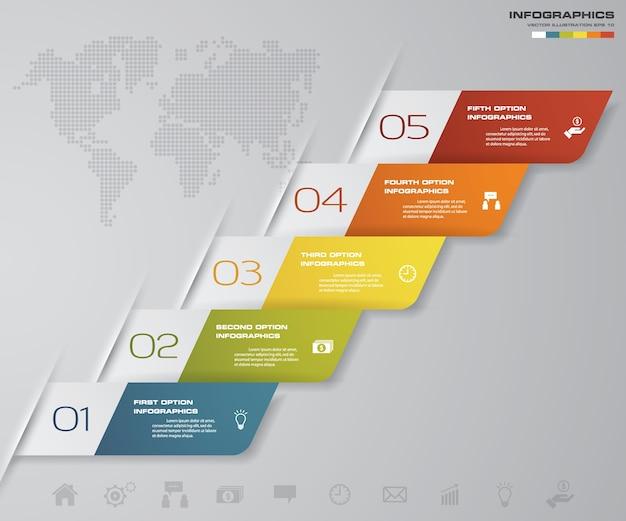 5 schritte infographics-element-flügeldiagramm für darstellung.