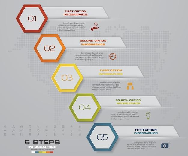 5 schritte infographics element pfeil vorlage diagramm.