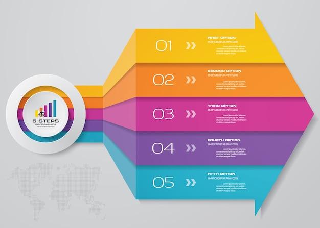 5 schritte infographics element pfeil vorlage diagramm
