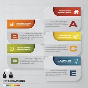 5 schritte infographics-elementdiagramm für darstellung.