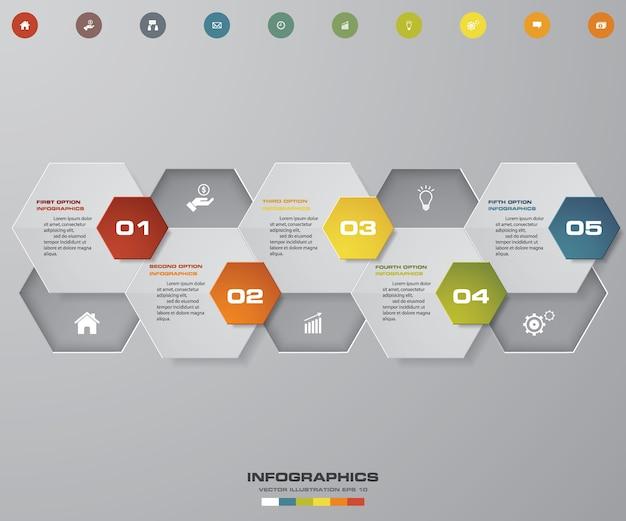 5 schritte infographics-elementdiagramm.