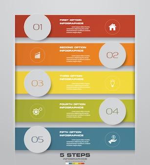 5 schritte infographics-elementschablonendiagramm.