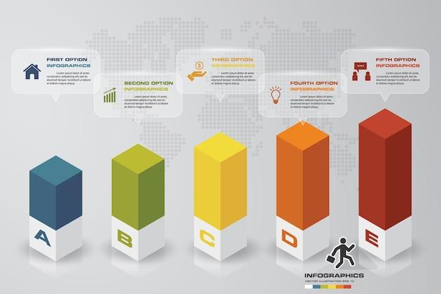 5 schritte level graph infografiken element.