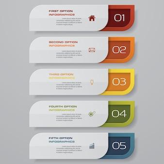 5 schritte optionsbanner für die präsentation.