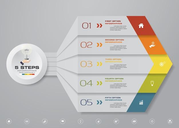5 schritte pfeil infografiken element diagramm.