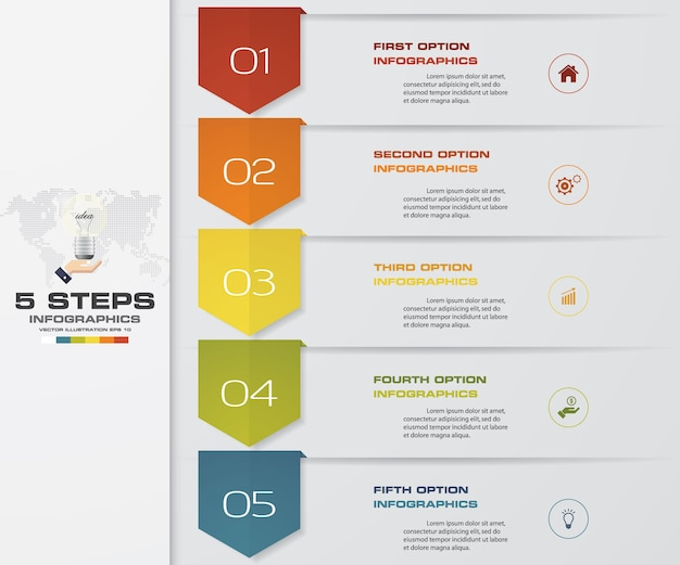 5 schritte prozess infografiken element diagramm.