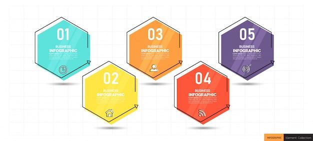 5 schritte timeline infografiken design
