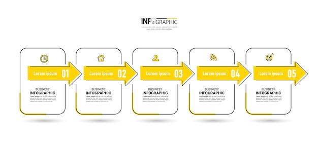 5 schritte timeline infographics designvorlage Premium Vektoren