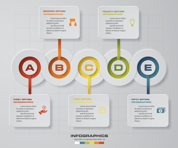 5 schritte timeline pfeil infografik element.