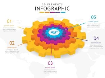 5 Schritte Zahnrad 3D Infografik.