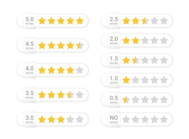 5 sterne bewertung. fünf überprüfungssymbole. gelbe, graue feedback-rate-schilder. zufriedenheit goldenes zeichen