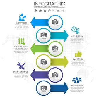 5 teile infographic designvektor- und -marketing-ikonen.