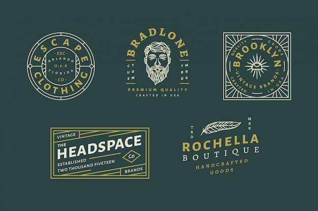 5 vintage logo set vol 02 - escape clothing logo - brandone benutzerdefiniertes premium qualitätslogo - vintage markenlogo - rochella boutique vollständig bearbeitbarer text, farbe und umriss