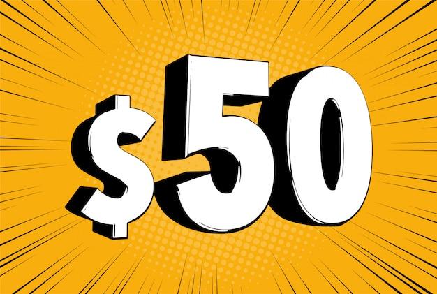 50 $ fünfzig preis. komische zahlen mit dollarzeichen auf geschwindigkeitslinie blase