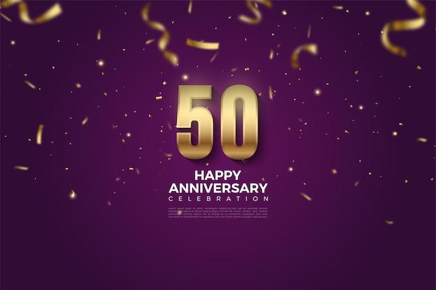 50-jähriges jubiläum mit den durch das band verstopften nummern