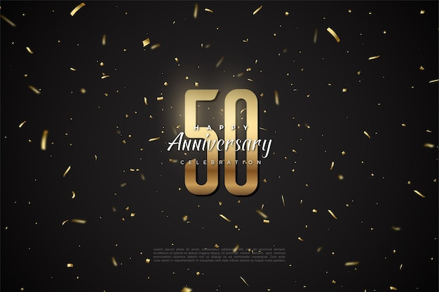 50-jähriges jubiläum mit goldenen zahlen und punkten im hintergrund