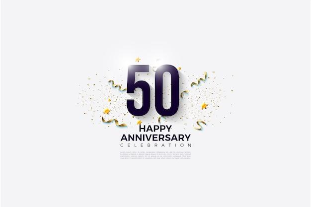 50-jähriges jubiläum mit zahlen, die mit bändern und einer festlichen party verziert sind