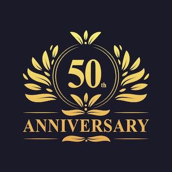 50-jähriges jubiläumsdesign, luxuriöse goldene farbe 50 jahre jubiläumslogo-designfeier.