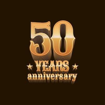 50 jahre jubiläumsdesign, zeichen in gold