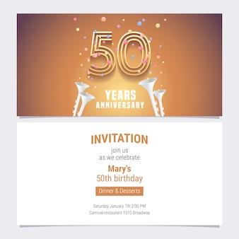 50 jahre jubiläumseinladungsvektorillustration. grafisches gestaltungselement mit goldener zahl und konfetti für 50. geburtstagskarte, partyeinladung