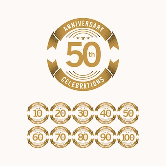 50 jahre jubiläumsfeier set template design illustration