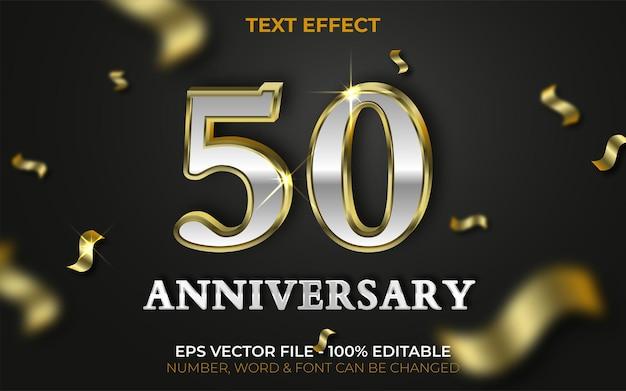 50 jubiläums-texteffekt im goldstil bearbeitbarer texteffekt