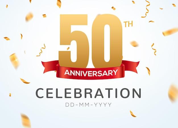 50 jubiläumsgoldzahlen mit goldenem konfetti. feier 50-jähriges jubiläums-event-party-vorlage.