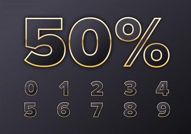 50 prozent. goldene metallic-nummern im luxusstil