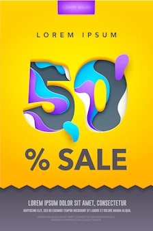 50 prozent rabatt poster oder flyer design in papierkunst schnitzstil. buntes licht