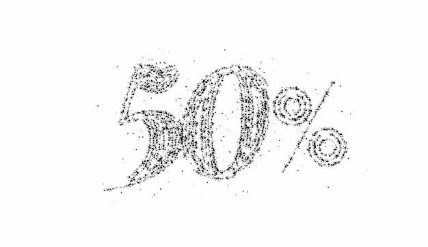 50 % rabatt auf das rabattbanner für den partikelverkauf. rabattangebot preisschild. vektor-moderne aufkleber-illustration.