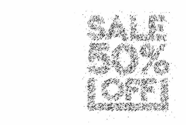 50% rabatt auf den sale-rabatt-partikel-design-banner. rabattangebot preisschild. vektor-moderne aufkleber-illustration.