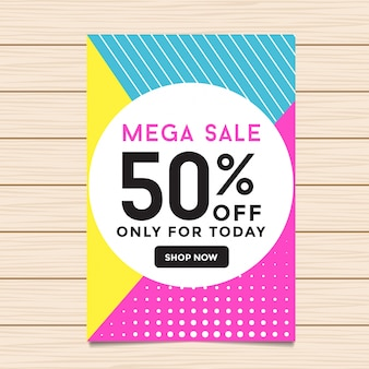 50% rabatt auf mega sale banner illustration