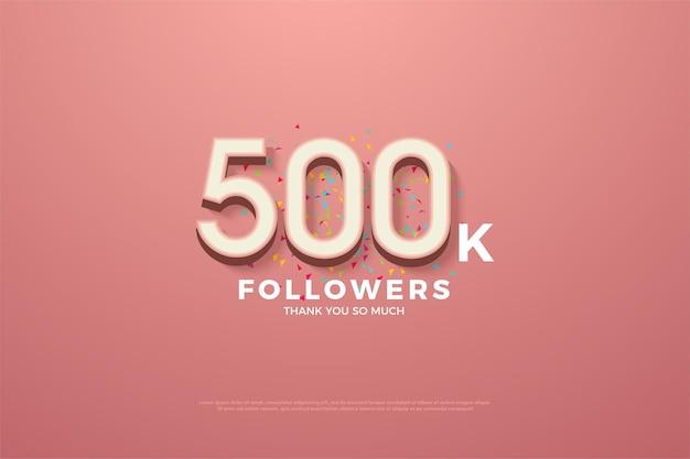 500.000 follower-hintergrund mit 3d-zahlen und buntem gekritzel