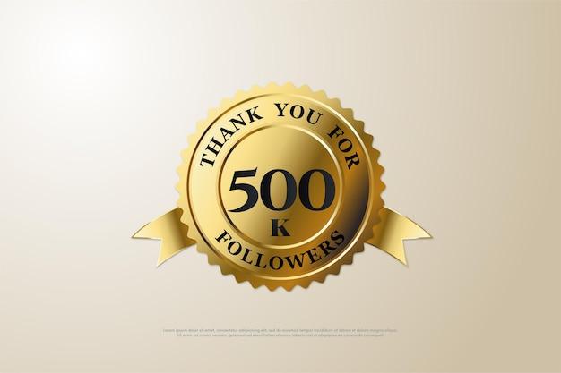 500.000 follower hintergrund mit zahlen und goldmedaillen
