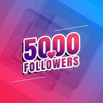 5000 anhänger des social media hintergrunddesigns