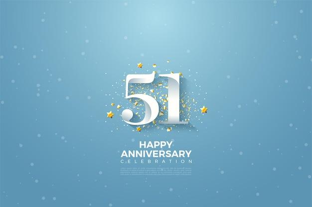 51-jähriges jubiläum mit flachem zifferndesign