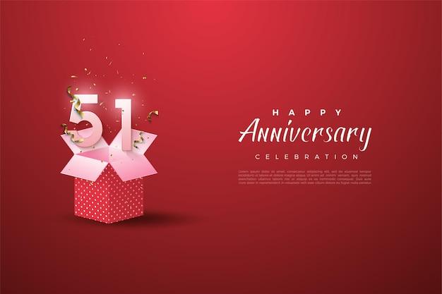 51. jahrestag mit geschenkbox-illustration