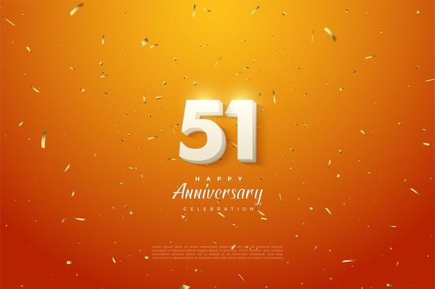 51. jahrestag mit schattierten 3d-zahlen