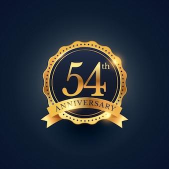 54. jahrestag feier abzeichen etikett in der goldenen farbe