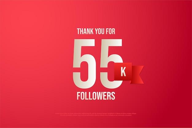 55.000 follower mit nummer und rotem band