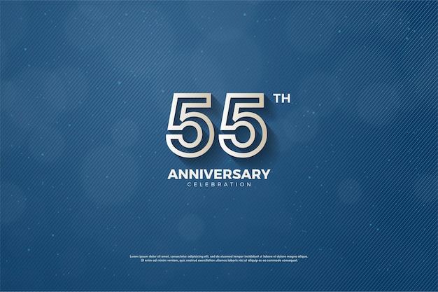55-jähriges jubiläum mit braun linierten zahlen Premium Vektoren