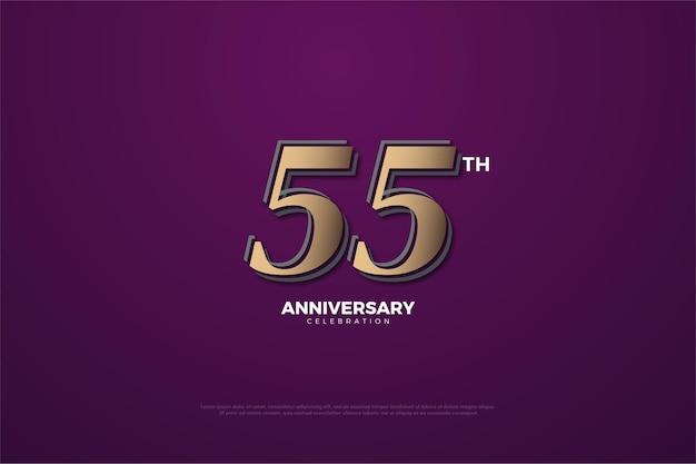 55-jähriges jubiläum mit braunen zahlen auf lila hintergrund