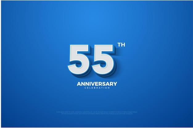 55-jähriges jubiläum mit geprägten 3d-zahlen