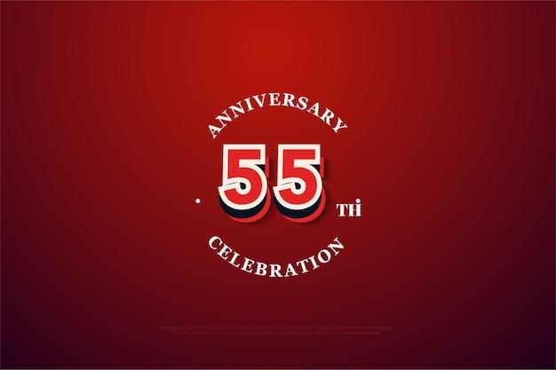 55-jähriges jubiläum mit graffiti-nummern auf rotem grund